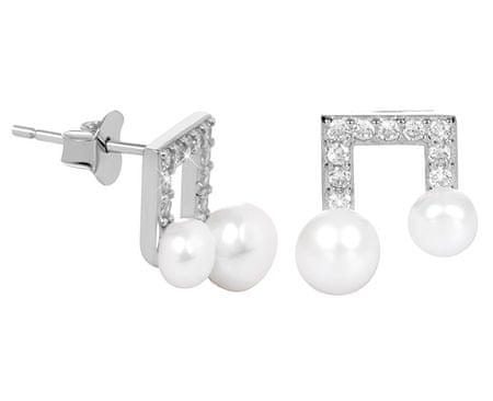 JwL Luxury Pearls Strieborné náušnice Noty s pravou perlou a zirkónmi JL0414 striebro 925/1000