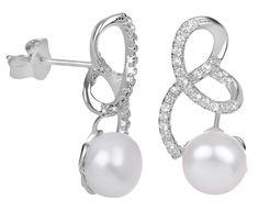 JwL Luxury Pearls Strieborné náušnice s pravou perlou a zirkónmi JL0408 striebro 925/1000