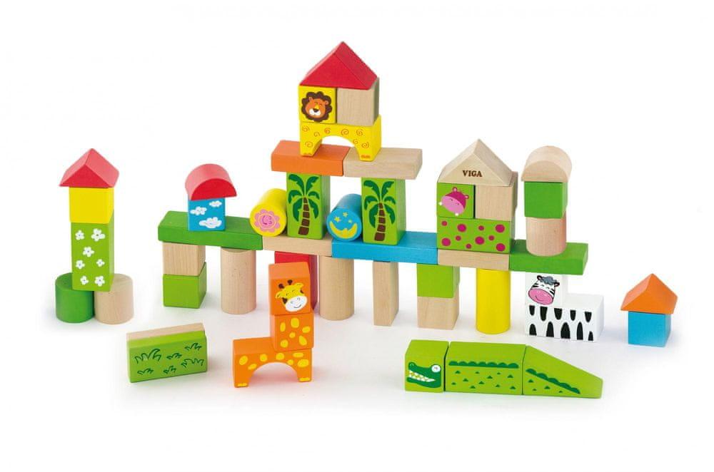 Viga Dřevěná stavebnice 50 kostek - zoo