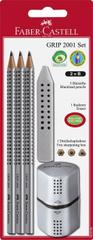 Faber-Castell set Grip, grafični svinčnik 3/1 + radirka + šilček, siv