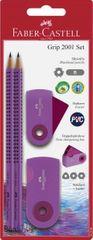Faber-Castell set Grip, grafični svinčnik 2/1 + radirka + šilček, vijola