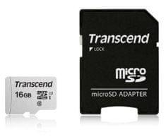 Transcend spominska kartica microSDHC 16GB 300 S, 95/45 MB/s, C10, UHS-I Speed Class 3 (U3), adapter
