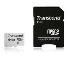 Transcend spominska kartica microSDXC 64GB 300S, 95/45 MB/s, C10, UHS-I Speed Class 3 (U3), adapter