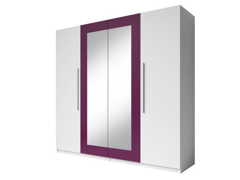 VERA skříň se zrcadlem, bílá/fialová