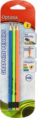 Optima grafični svinčnik HB z radirko, 3/1, blister