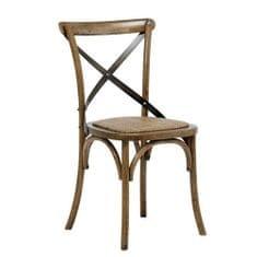 Design Scandinavia Jedálenská stolička s ratanovým sedadlom Harvest (SET 2 ks), antik
