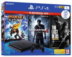 SONY Playstation 4 Slim - 1TB + The Last of US + Ratchet & Clank + Uncharted 4