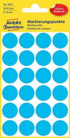 Avery Zweckform okrogle markirne nalepke 3005, 18 mm, 96 kosov, modre