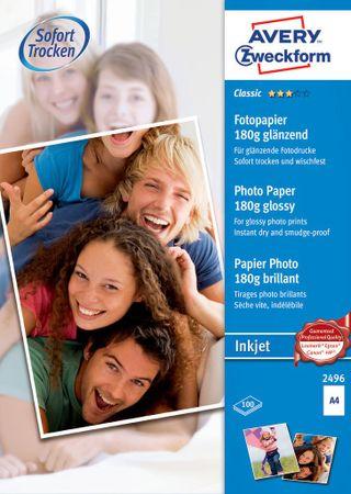 Avery Zweckform papir za inkjet tiskalnike 2496, 180g, 100 listov, visoko sijajni premaz