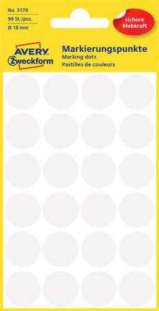 Avery Zweckform okrogle markirne etikete 3170, 18 mm, 96 kosov, bele