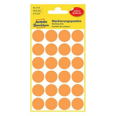 Avery Zweckform okrogle markirne etikete 3172, 18 mm, 96 kosov, neonsko oranžne