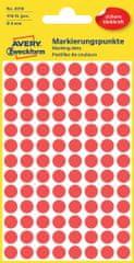 Avery Zweckform okrogle markirne etikete 3010, 8 mm, 416 kosov, rdeče