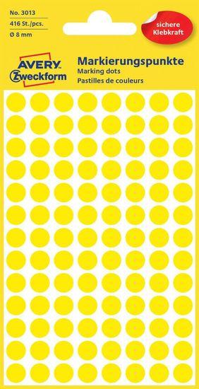 Avery Zweckform okrogle markirne etikete 3013, 8 mm, 416 kosov, rumene
