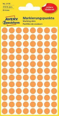 Avery Zweckform okrogle markirne etikete 3178, 8 mm, 416 kosov, svetlo oranžne
