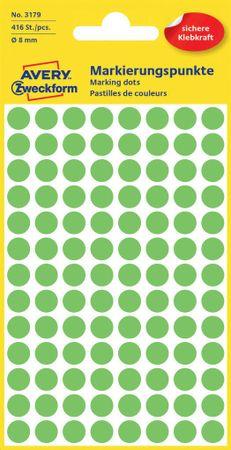 Avery Zweckform okrogle markirne etikete 3179, 8 mm, 416 kosov, svetlo zelene