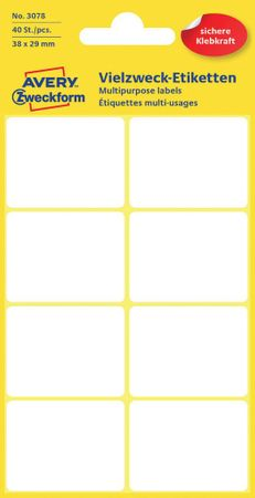 Avery Zweckform večnamenske biro etikete 3078, 38x29 mm, 40 kosov, bele