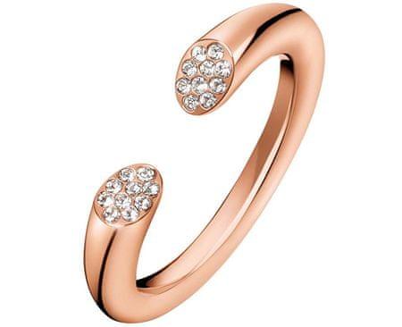 Calvin Klein Otvorený ružovo pozlátený prsteň s kryštálmi Brilliant KJ8YPR1401 (Obvod 57 mm)