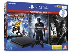 Sony PlayStation PS4 1TB set + igre HITS (Uncharted 4: A Thief`s End, The Last of Us, Ratchet & Clank)