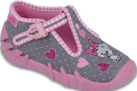 Befado dívčí bačkůrky s kočičkou Speedy 19 ružová/sivá