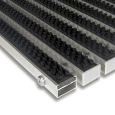 FLOMAT Černá hliníková kartáčová venkovní vstupní rohož Alu Super, FLOMAT - 2,2 cm