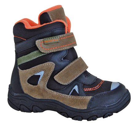 Protetika buty zimowe za kostkę chłopięce Zan 27, czarny/brązowy