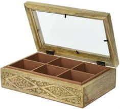 Marex Trade Dřevěný box na čaj, 6 přihrádek