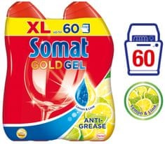 Somat Gold gel Anti-Grease Lemon 2x 600 ml (60 pranj)