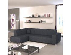 Rohová sedací souprava, L. rozklad/úložný prostor, šenil Boss 12 černo šedý, COLLI