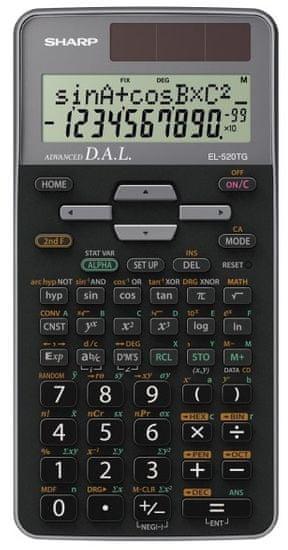 Sharp kalkulator EL520TGGY, tehnični, 419 funkcij, črn in siv