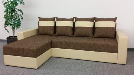 Rohová sedačka VERA, univerzální provedení, hnědá látka/béžová ekokůže