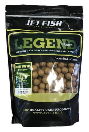 Jet Fish Boilie Legend Range Žltý Impuls Orech Javor 250 g, 20 mm