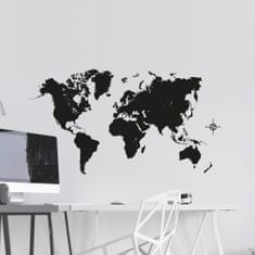 Crearreda dekorativna stenska nalepka Črn zemljevid, L