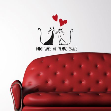 Crearreda dekorativna stenska nalepka Mačke in ljubezen, M deluxe