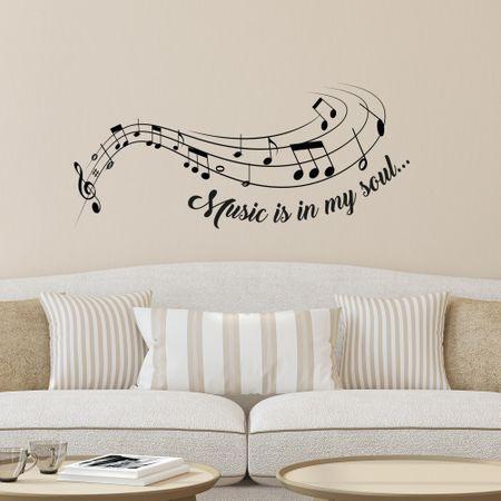 Crearreda dekorativna stenska nalepka Music is my soul, L deluxe