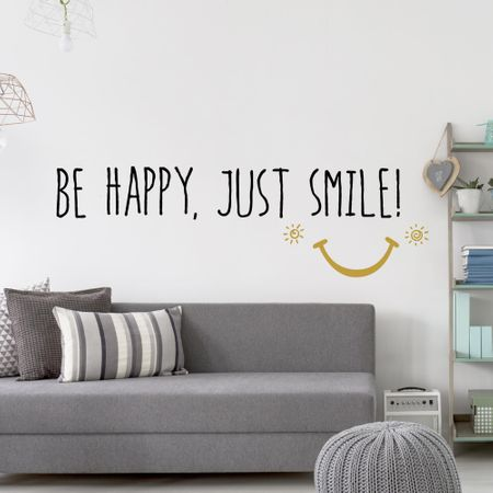 Crearreda dekorativna stenska nalepka Be Happy Just Smile, XL deluxe