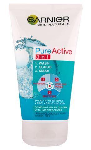Garnier Skin Naturals Pure Active čistilni gel s pilingom in masko 3 v 1 proti mozoljem, 150 ml