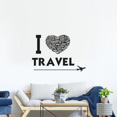 Crearreda dekorativna stenska nalepka I Love Travel, L deluxe