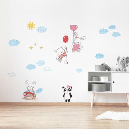 Crearreda stenska dekorativna nalepka Zabavni medvedki, XL