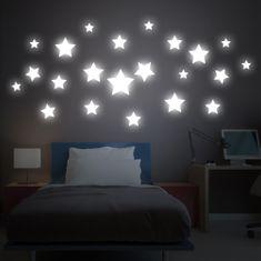 Crearreda stenska dekorativna svetleča nalepka Velike zvezdice, L