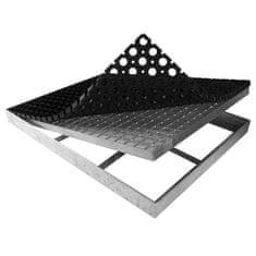 FLOMAT Čistící venkovní vstupní rohož ze svařovaných podlahových roštů s gumou s pracnami Galva - 6 cm