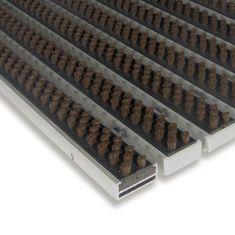 FLOMAT Hnědá hliníková kartáčová venkovní vstupní rohož Alu Super, FLOMAT - 1,7 cm