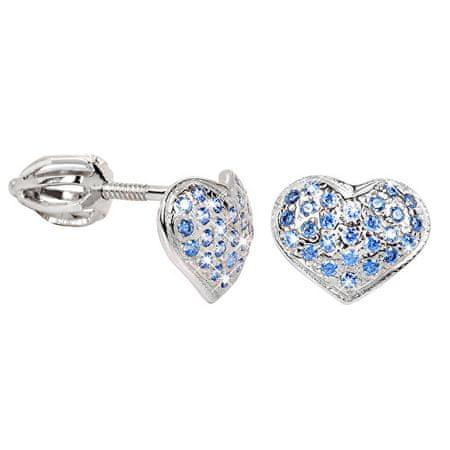 Brilio Silver Strieborné náušnice Srdce 436 001 00251 04 - modré - 1,20 g striebro 925/1000