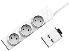 Allocacoc Set PowerStrip Modular 3m cable + USB modul 4260504750245