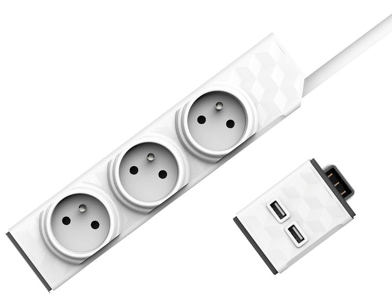 Allocacoc Set PowerStrip Modular 3m cable + USB modul 4260504750245