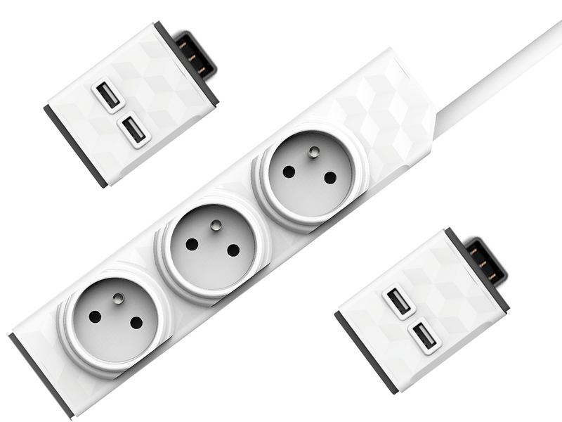 Allocacoc Set PowerStrip Modular 3m cable + 2xUSB modul 4260504750238