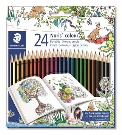 """Staedtler Színes ceruzák """"Noris Colour"""", Johanna Basford limitált kiadás, 24 színű szett, hatszögletű"""