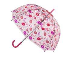 Blooming Brollies Dámský průhledný holový deštník Clear Dome Stick With A Lips Design POESLIP