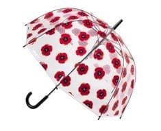 Blooming Brollies Dámský průhledný holový deštník Clear Dome Stick With A Poppy Design POESPOP