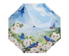 Blooming Brollies Dámský skládací plně automatický deštník Blue Birds GBFBBN