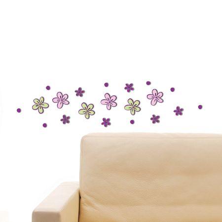 Crearreda stenska dekorativna nalepka 3D, male rožice (59503)